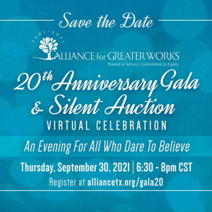Save the date for the 20th Anniversary Gala and Silent Auction